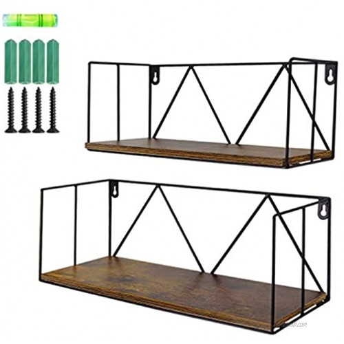 EdenseeLake 2 Pack Floating Shelves Wall Mounted Storage Shelf with Metal Wire for Bedroom Bathroom Living Room Kitchen and Office