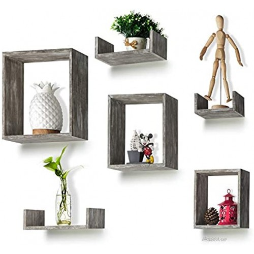 Floating Shelves Set of 6 Rustic Wood Wall Shelves with 3 Square Boxes and 3 Small U Shelves for Free Grouping Driftwood Finish