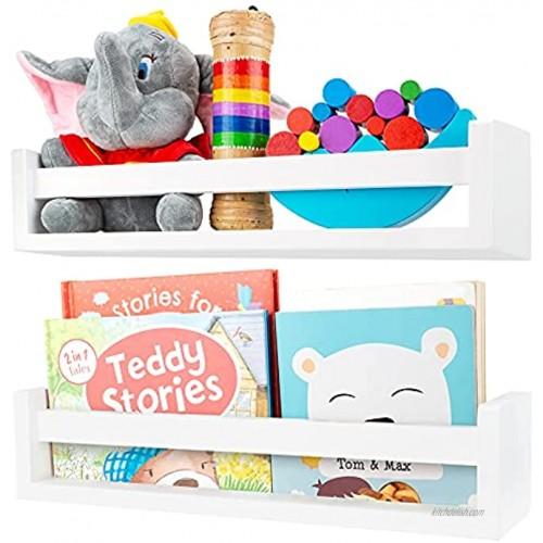 Nursery Shelves White Floating Nursery Bookshelves Set of 2 Beautiful Book Shelves Nursery Decor for Kids Room Bathroom or Baby Nursery