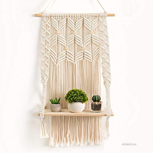 OMOMIO Macrame Wall Hanging Shelf Indoor Boho Wall Decor for Bedroom Woven Rope Bohemian Shelves Macrame Shelf Wall Hanging for Plant Hanger or Holder with Crochet Decor 17 Inches by 28 Inches