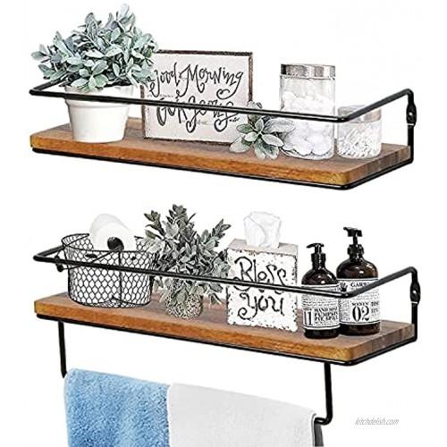 QEEIG Farmhouse Bathroom Shelf Floating Shelves for Wall with Towel Bar Over Toilet Walls Mounted Shelfs Kitchen Small Shelfslves Restroom Hanging Shelving Set of 2 Rustic Brown FS636