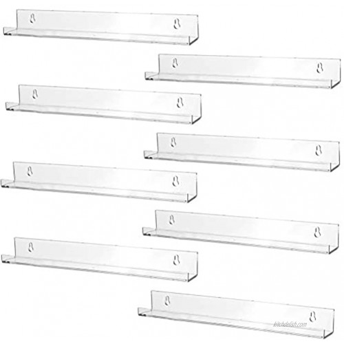 Sooyee 8 Pack 15 Inch Acrylic Invisible Kids Floating Bookshelf for Kids Room,Modern Picture Ledge Display Toy Storage Wall Shelf,Clear 8 Pack