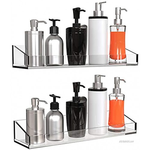 Vdomus Acrylic Bathroom Shelves Wall Mounted no Drilling Thick Clear Storage & Display shelvings 2 Pack Original