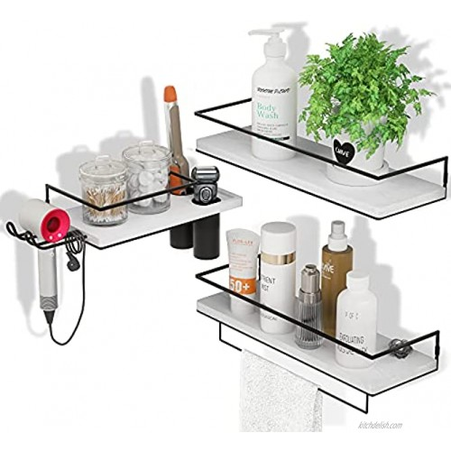 ZGO Floating Shelves for Wall Set of 3 Wall Mounted Storage Shelves with Metal Frame Toothbrush Holder Hair Dryer Holder and Towel Rack for Bathroom Kitchen BedroomWhite