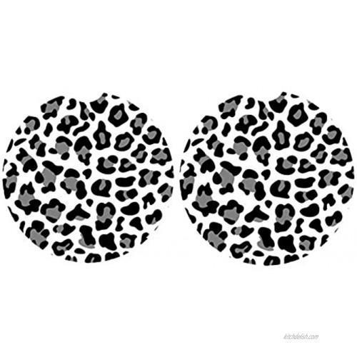 Car Coasters Pack of 2,Leopard Print Absorbent Ceramic Car Coasters,Drink Cup Holder Coasters,with A Finger Notch for Easy RemovalGrey