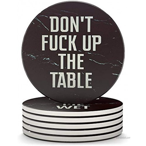 Clever & Funny Coasters for Drinks Absorbent with Holder 6 Piece Ceramic Black Marble Coaster Set Drink Coasters with Holder Cup Coasters Table Coasters Coasters Funny Man Cave Decor
