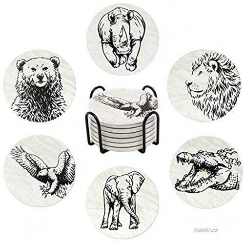 Coasters for Drinks | 6-pcs Drink Coaster Set with Holder | Absorbent Coasters | Water Absorbent Ceramic Coasters Cork Base | Animal Coasters for Housewarming Gifts for Table and Bar Decorations