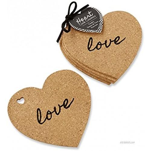 Kate Aspen Heart Cork Coasters Set of 4