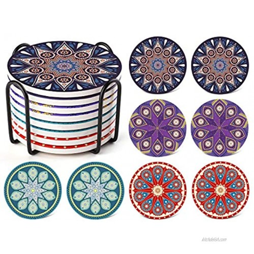 LIFVER Coaster Set of 8 for Drinks Absorbent with Holder Ceramic Coasters with Protective Cork Bottom Coasters for Drinks Table Office Desk and Nightstand Metal Holder 4 Inches