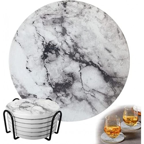 Loyalpart Ceramic Coasters Set of 6 Coasters for Drinks Absorbent Marble Coasters with Cork Base for Wooden Table Thirstystone Bar Coaster with Holder for Cups Farmhouse Coasters for Coffee Table
