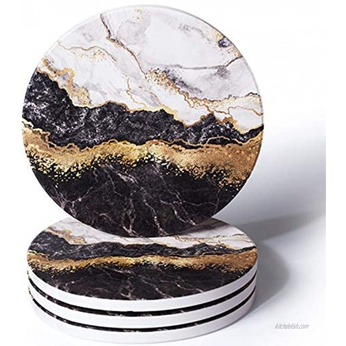 RoomTalks Black and Gold Marble Coasters for Drinks Absorbent 4PCS Modern Abstract Ceramic Coaster Set Cork Back Glitter Faux Metallic Rock Stone Coasters for Wooden Coffee Table Black 4 Pieces