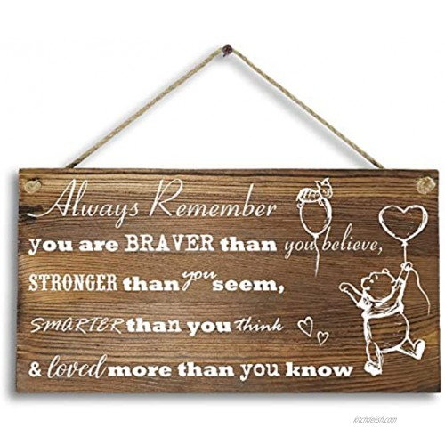 6x 12 Winnie The Pooh Wood Plank Design Hanging Sign Plaque Inspirational Gift for Kids or Fiendss.