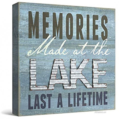 Barnyard Designs 'Memories at The Lake Last a Lifetime' Box Wall Art Sign Primitive Country Lake Home Decor Sign with Sayings 8 x 8