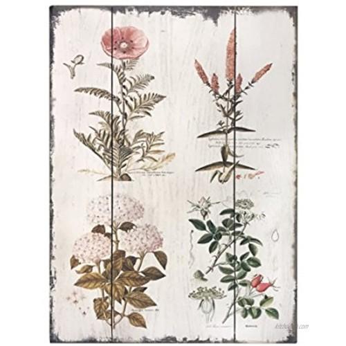 Barnyard Designs Vintage Florals Botanical Wood Plaque Primitive Country Farmhouse Home Decor Sign 12 x 16