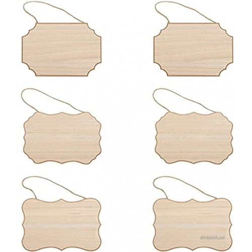 Juvale Unfinished Wood Plaques for Crafts Blank Wooden MDF Hanging Signs 9 x 6 in 3 Designs 6 Pack