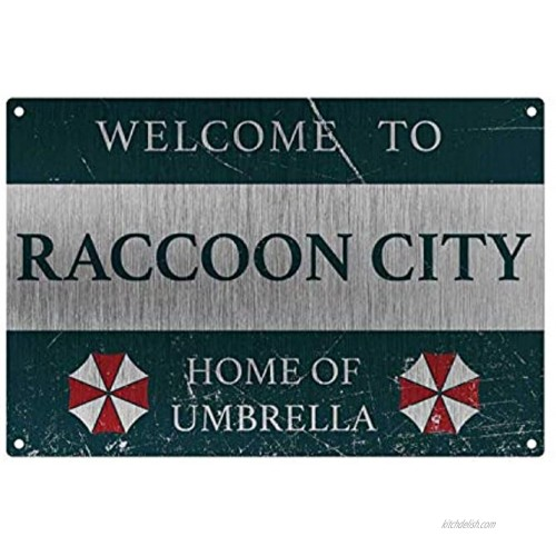 Metal Tin Sign Personalized Vintage Resident Welcome to Raccoon City Home of Umberella Sign Style Metal Aluminum Sign for Wall Decor 8x12 Inch