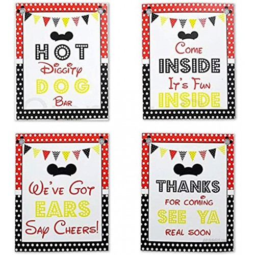 Mickey Party Sign Set of 4 8 x 10 inch Mickey Mouse Party Supplies Birthday Sign Printed in Card stock   Mickey Mouse Clubhouse Inspired Door Signs   Food Labels Disney Decorations Hot Dog Bar Decor
