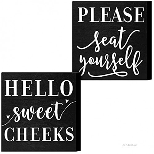 Youyole 2 Pieces Farmhouse Funny Bathroom Signs Hello Sweet Cheeks Wooden Signs Please Seat Yourself Wooden Plaque 6 x 6 Inch Black Wooden Box Sign with Funny Saying for Home Decoration