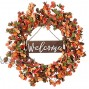 Artificial Fall Wreath,20 Inches Orange Autumn Wreath with Small Pumpkins Thanksgiving Wreath with Welcome Sign for Front Door Wall Window and Farmhouse Decor