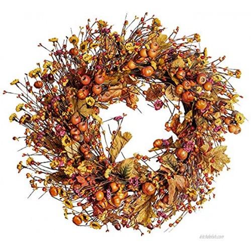"Fall Berry Wreath 22"" Autumn Orange Front Door Wreath Harvest Wreath with Pumpkins Acorns,Maple Leaves Artificial Wreath for Front Door Home Decor Thanksgiving Harvest Festival Decor"