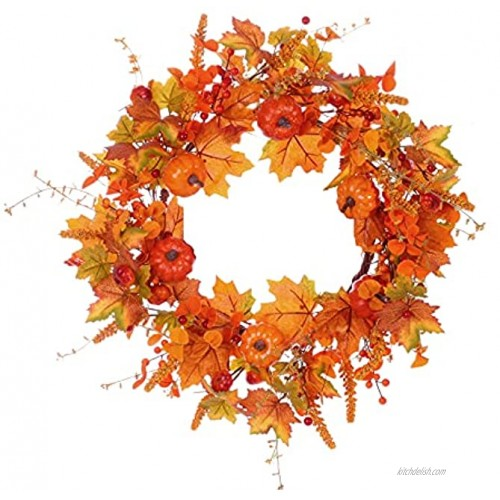 Fall Wreath with Wooden Sign,20 inches,Artificial Autumn Wreath with Pumpkins and Maple Leaves for Front Door Wall Window Farmhouse and Thanksgiving Day Decor