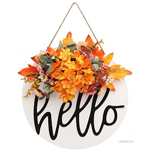 Fall Wreaths for Front Door Round Wood Handmade Wreath Welcome Sign for Front Door Fall Wreath Hello Sign Farmhouse Door Wreaths Grapevine Fall Wreath Decor Hanging Outdoor