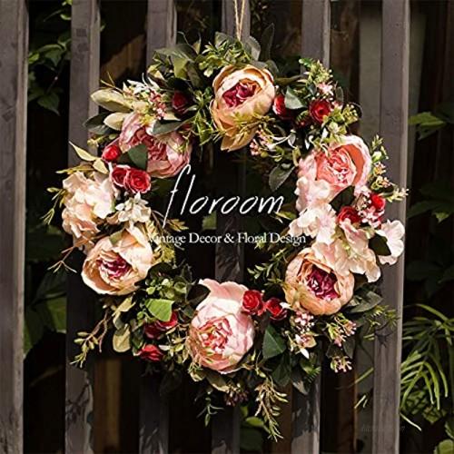 Floral Wreath Door Wreath Artificial Peony Wreath for Front Door 15''-16'' Front Door Decorations Wall Decor