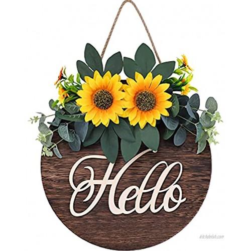 Hello Sign Welcome Wreaths for Front Door Decor Wooden Rustic Welcome Sign Door Wreath Fall Wreaths for Front Door Front Porch and Housewarming Gift