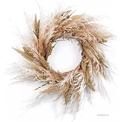 RED DECO Fall Reed Floral Welcome Wreath for Front Door 24 inch Artificial Door Wreaths for Home Farmhouse Wedding Party Window Wall Decor All Seasons