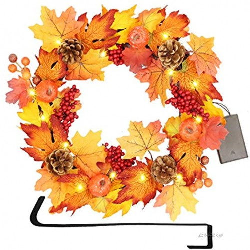 SAND MINE Fall Door Wreath 17 inch Thanksgiving Harvest Door Wreath for Front Door with Maple Leaf and Berry Pinecone Pumpkins Ideal for Fall Harvest Thanksgiving Autumn Decoration