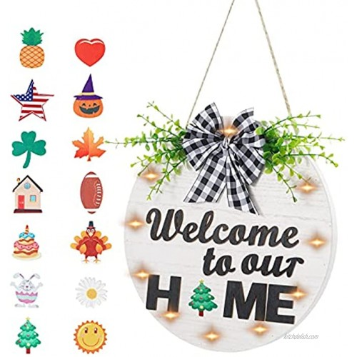 Welcome Sign for Front Door Porch Decor with 14 PCS Interchangeable Holiday Icons 12 Inch Rustic Hanging Outdoor Premium Wooden Door Decorations Outside Farmhouse Wreaths with Led Light White