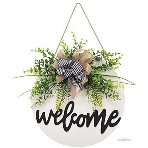 Welcome Sign for Front Door Wreaths for Front Door Spring Summer Rustic Round Wooden Door Hangers Sign Buffalo Plaid Door Hanging Décor for Outdoor Farmhouse Porch