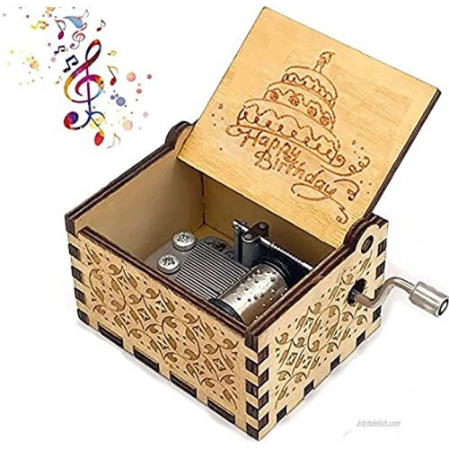 BELIVOR Happy Birthday Music Box Hand Crank Musical Box Play Happy Birthday Tunes Engraved Carved Wood Musical Birthday Gifts for Kids Children Parents Friends etc