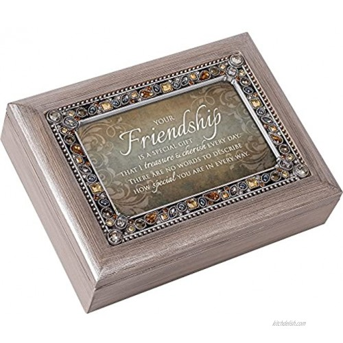Cottage Garden Friendship Treasure Cherish Every Day Brushed Pewter Jewelry Music Box Plays What Friends are for