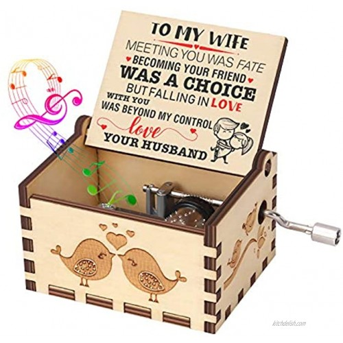 Music Box Gift for Wife from Husband Hand Crank Engraved Musical Box Vintage Personalizable Romantic Gift to My Wife on Birthday Anniversary Valentines Day You are My Sunshine Wooden Music Box