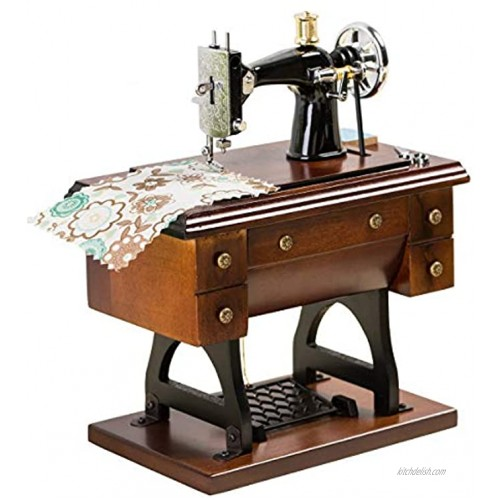 Sewing Machine Music Box Gift Vintage Mini Musical Box Made of Wood Birthday for Wife Girlfriend Grandma Mom Friend Wooden Wind Up Music Mechanical Clockwork Melody Castle in The Sky