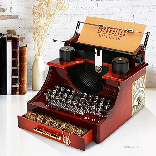 WIOR Typewriter Music Box Vintage Music Box with Drawer Switch and Card Mini Typewriter Model Desktop Ornament for Jewelry Storage on Christmas Birthday Valentine's Day Festivals