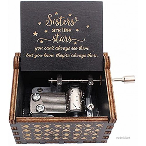 You are My Sunshine Music Box Laser Engraved Music Box Gifts to Sister Sibling Blk