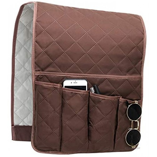 Coitak Sofa Armrest Organizer Couch Arm Chair Caddy with 5 Pockets for Magazine Books TV Remote Control Cell PhoneChocolate