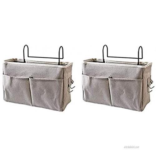 Frjjthchy Bedside Hanging Storage Basket Multi-Function Organizer Caddy for Headboards Bunk Beds Hospital Bed Dorm Rooms 2 Pack Grey