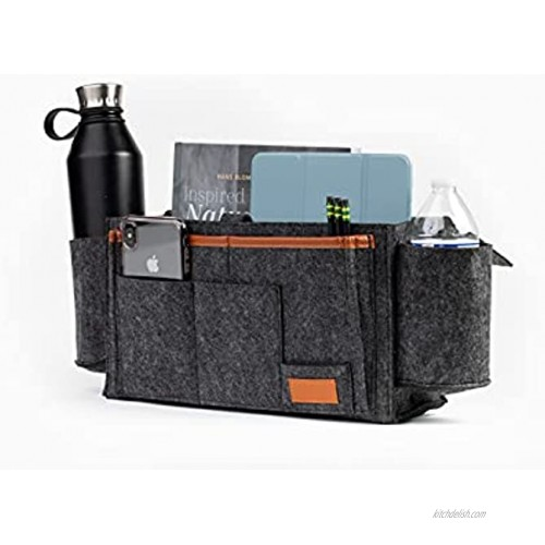 Higgady Felt Bedside Organizer Caddy Large Dark Grey with Twin cupholders and Remote Phone Controller Specific Pockets. Higgaday Original Basic Organizers for beds and Furniture