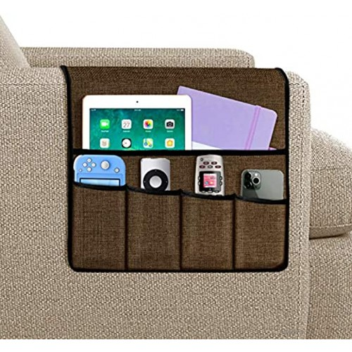 Joywell Armchair Caddy Remote Control Holder for Recliner Couch Sofa Armrest Organizer with 5 Pockets for Magazine Tablet Phone iPad Chocolate