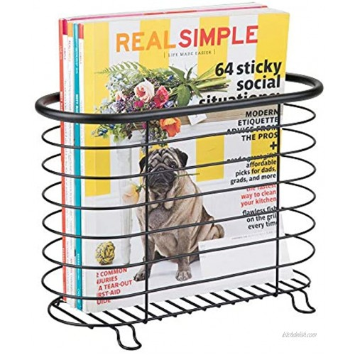 mDesign Decorative Metal Farmhouse Magazine Holder and Organizer Bin Standing Rack for Magazines Books Newspapers Tablets in Bathroom Family Room Office Den Matte Black