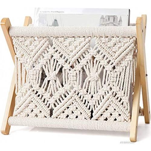 Mkono Macrame Magazine Rack Boho Magazine Holder Storage Standing Basket for Books Newspapers Swaddle Blanket Living Room Bathroom Office Nursery Home Decor Small Size 11.22''L x 7.5''W
