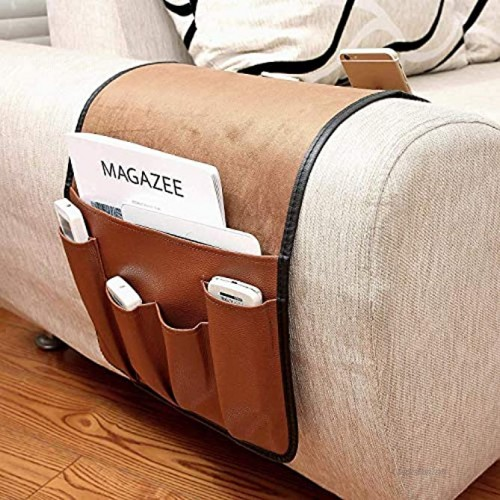 No-slip Leather Sofa Couch Remote Control Holder Chair Armrest Caddy Pocket Organizer Storage Bag for Cellphone Tablet Notepad Book Magazines DVD Eyewears Drinker Snacks Holder Pouch
