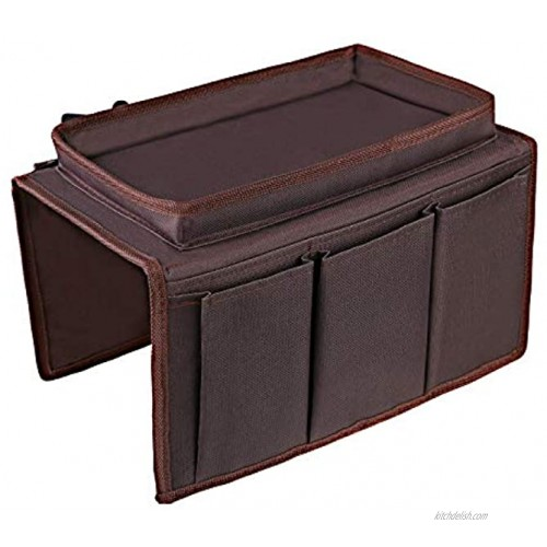 OOTSR Sofa Chair Organizer Holder Couch TV Remote Storage Organizer with Pockets for Recliner Armchair Snacks Glasses Smartphone Magazines iPad