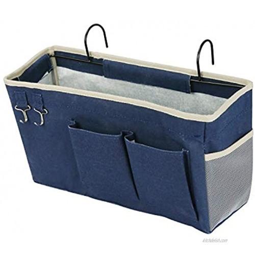 Ozzptuu Bedside Storage Caddy Bedside Hanging Storage Bag for Headboards Bunk Beds Dorm Rooms Book Phone Magazine Holder Navy Blue
