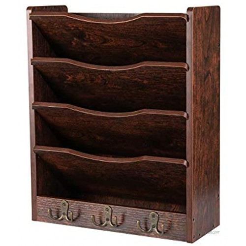 PAG 5-Tier Wall File Holder Hanging Mail Organizer Wood Magazine Literature Rack with 6 Hooks Brown
