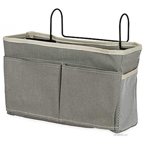 Retyion Bedside Hanging Storage Basket Headboards Bunk Beds Dorm Rooms Organizer Caddy for Storage with Pockets Grey