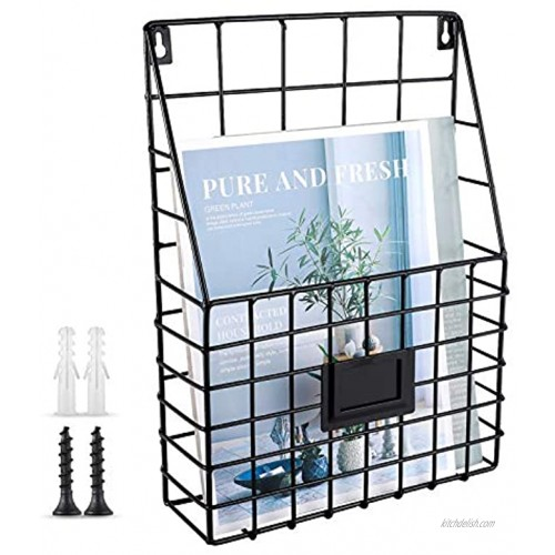 WantuSee Metal Wire Wall Mounted Magazine Holder Wall Hanging Organizer Holder for Files Newspapers Magazines with Tag Slot for Office Home Organization Black